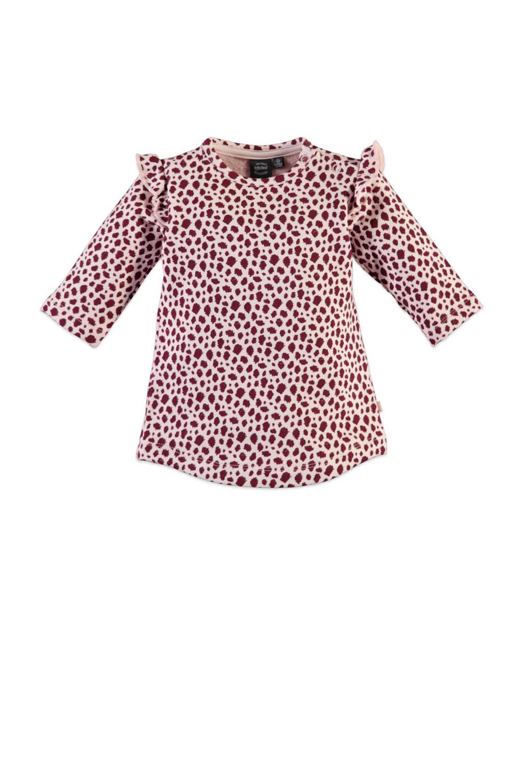 Babyface newborn jurk met all over print en ruches roze, Lichtroze/roze