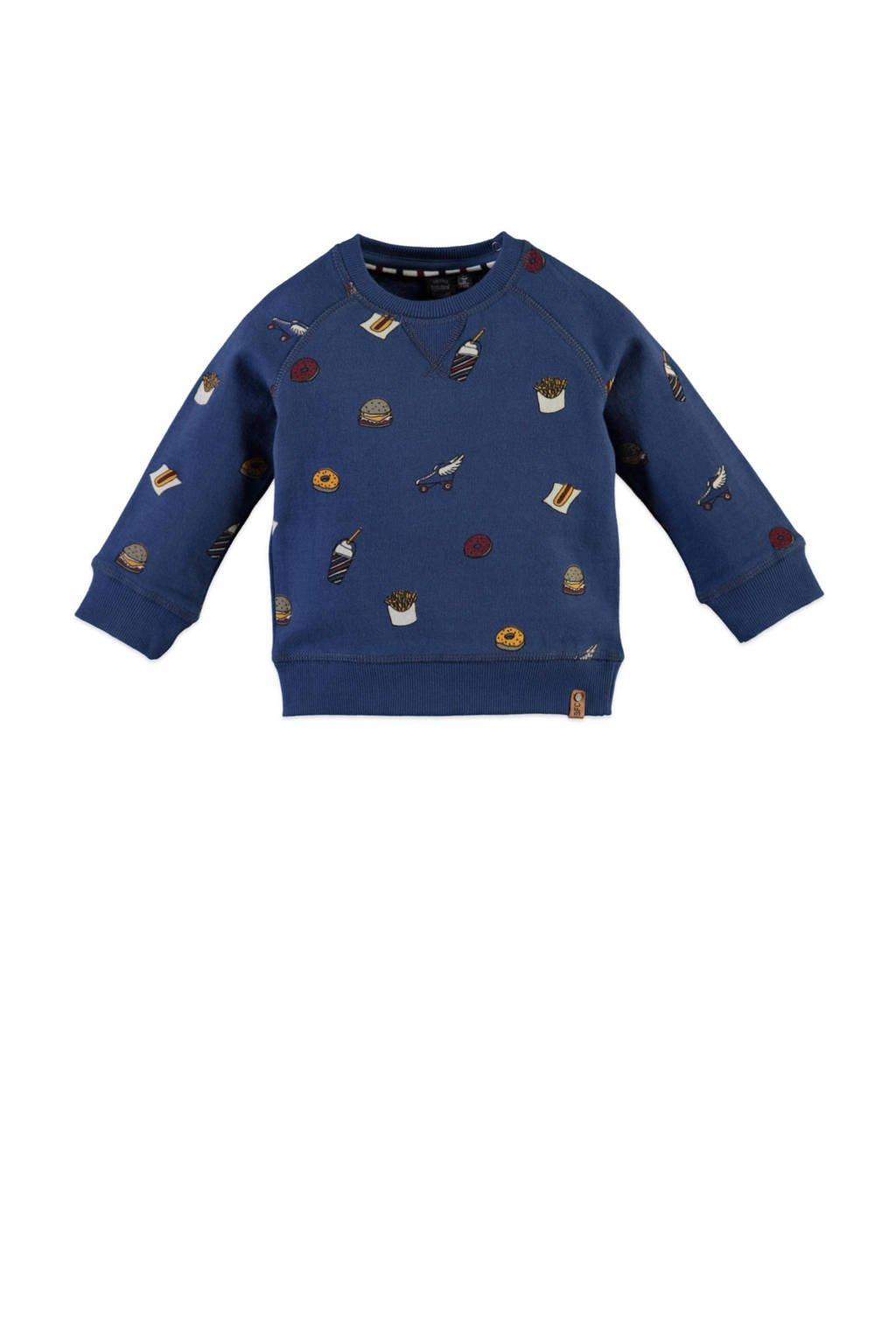 Babyface sweater met all over print blauw, Blauw