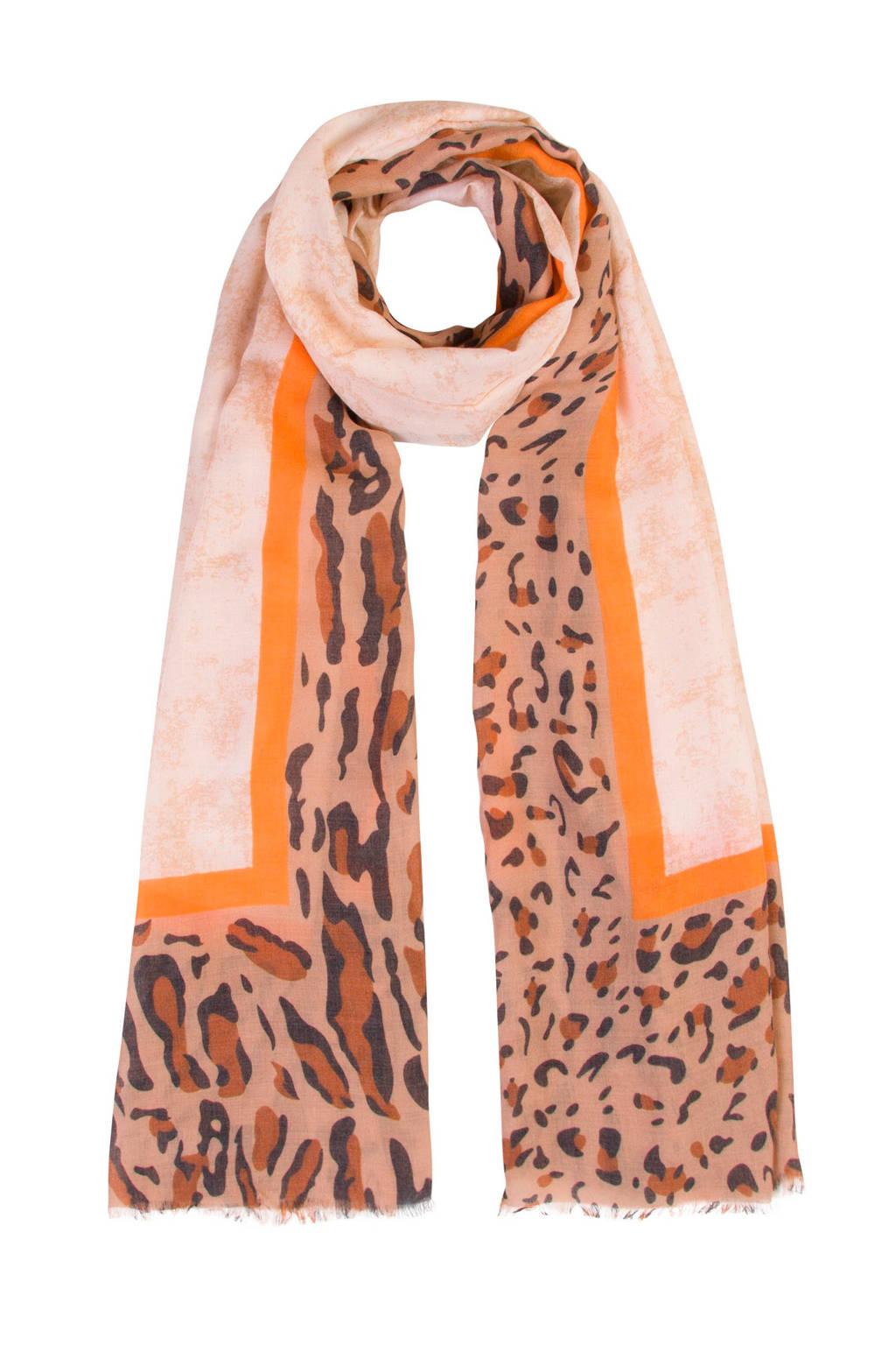 Miss Etam Accessoires sjaal met all over print, Beige/gel/zwart/bruin