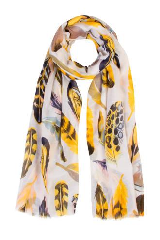 Accessoires sjaal met verenprint geel