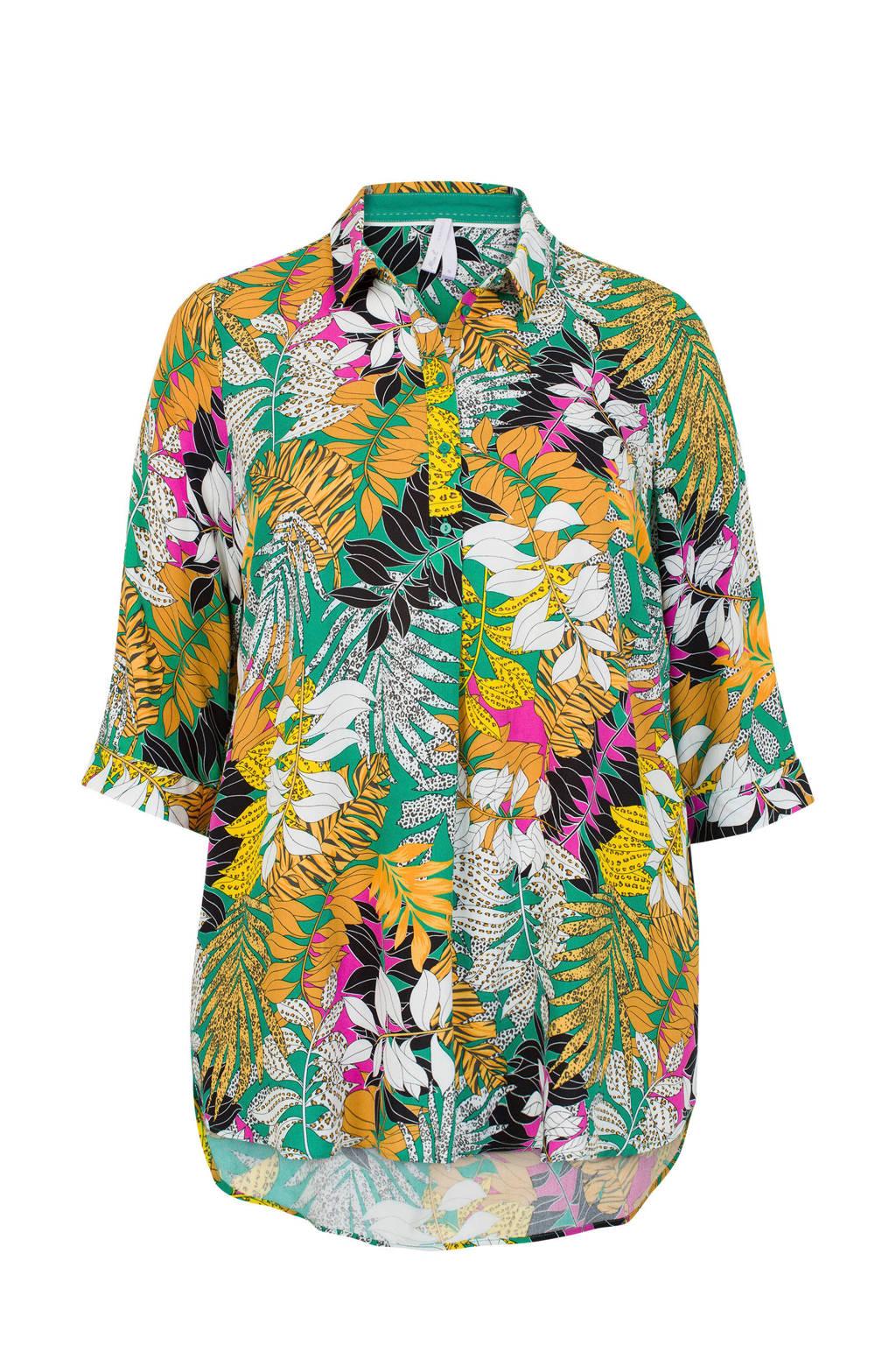 Miss Etam Plus blouse met bladprint groen/geel, Groen/geel