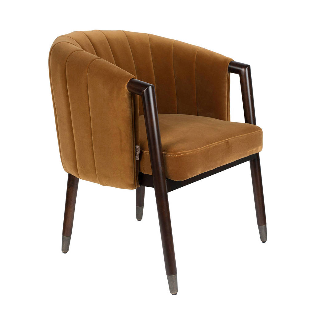 Dutchbone Tammy fauteuil velours, Bruin