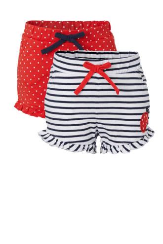 72a0e992cc4de7 Baby Club baby gestreepte sweatshort wit/zwart/rood - set van 2