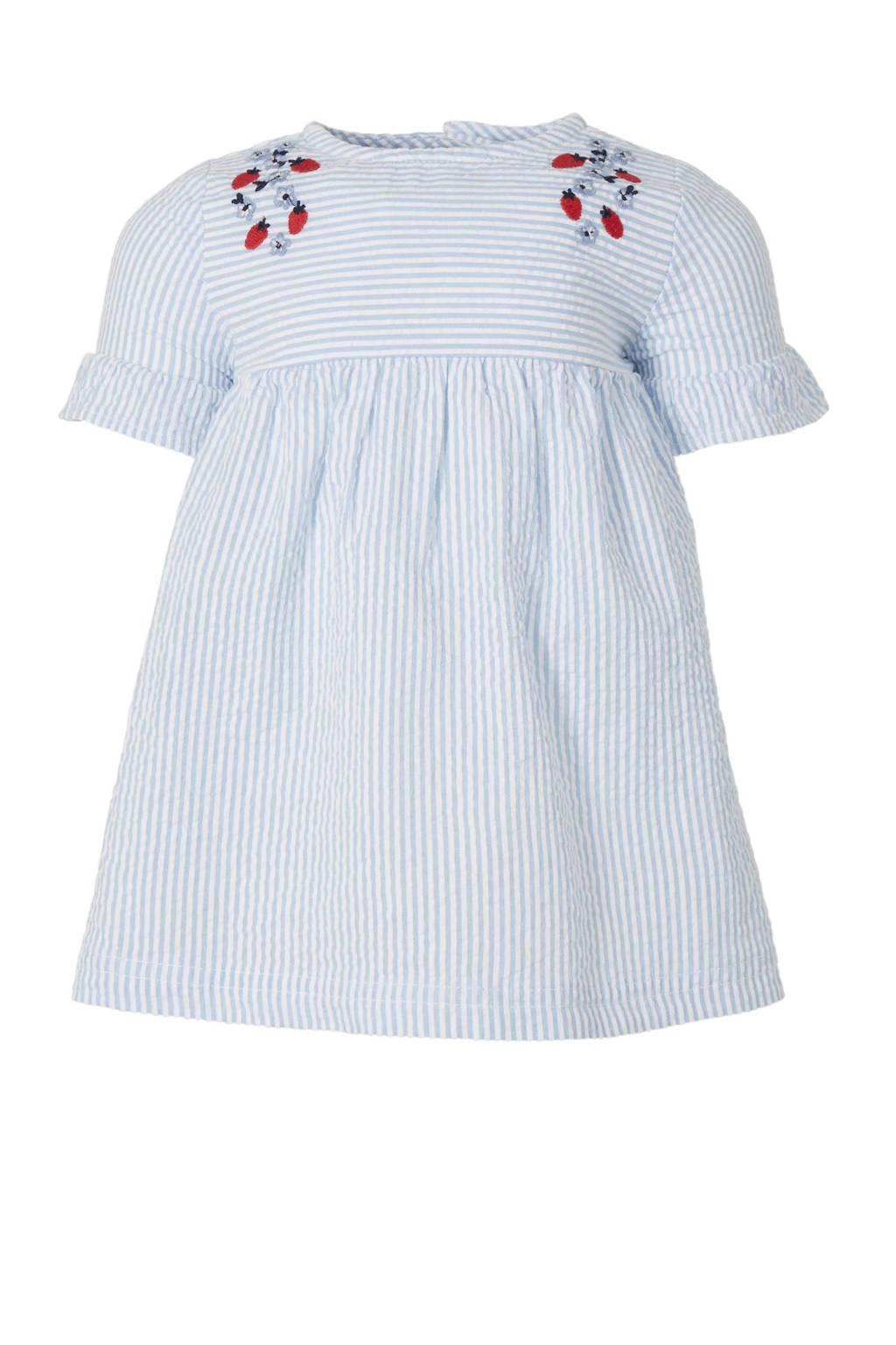 C&A Baby Club gestreepte jurk met borduursels blauw, Lichtblauw/wit