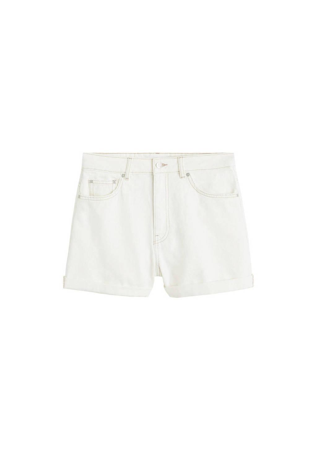 Mango high waist jeans short ecru, Ecru