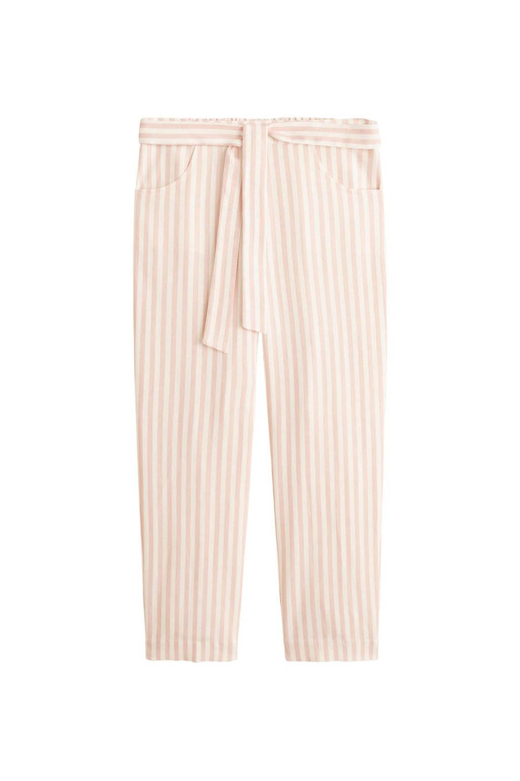 Mango gestreepte straight fit broek met linnen lichtroze, Lichtroze