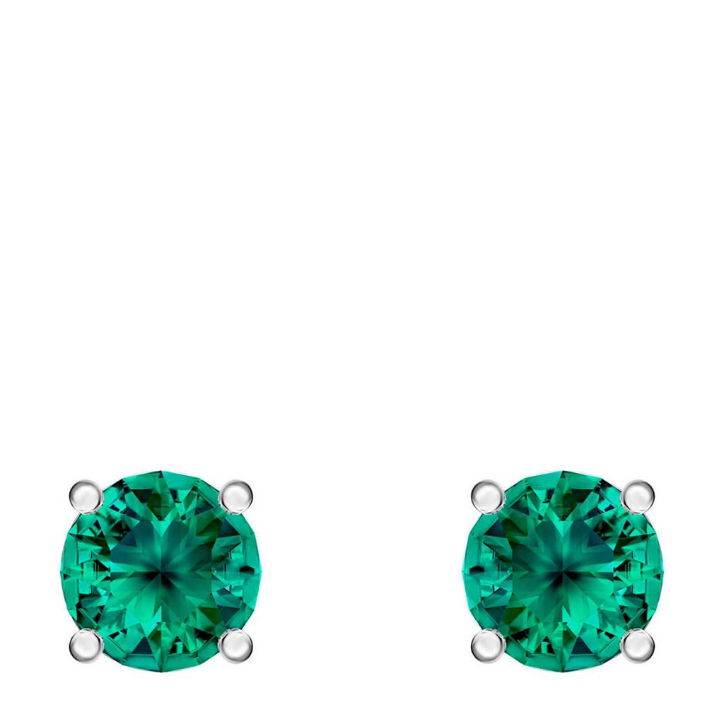 Swarovski oorbellen zilver/groenkleurig, Groen/zilverkleurig