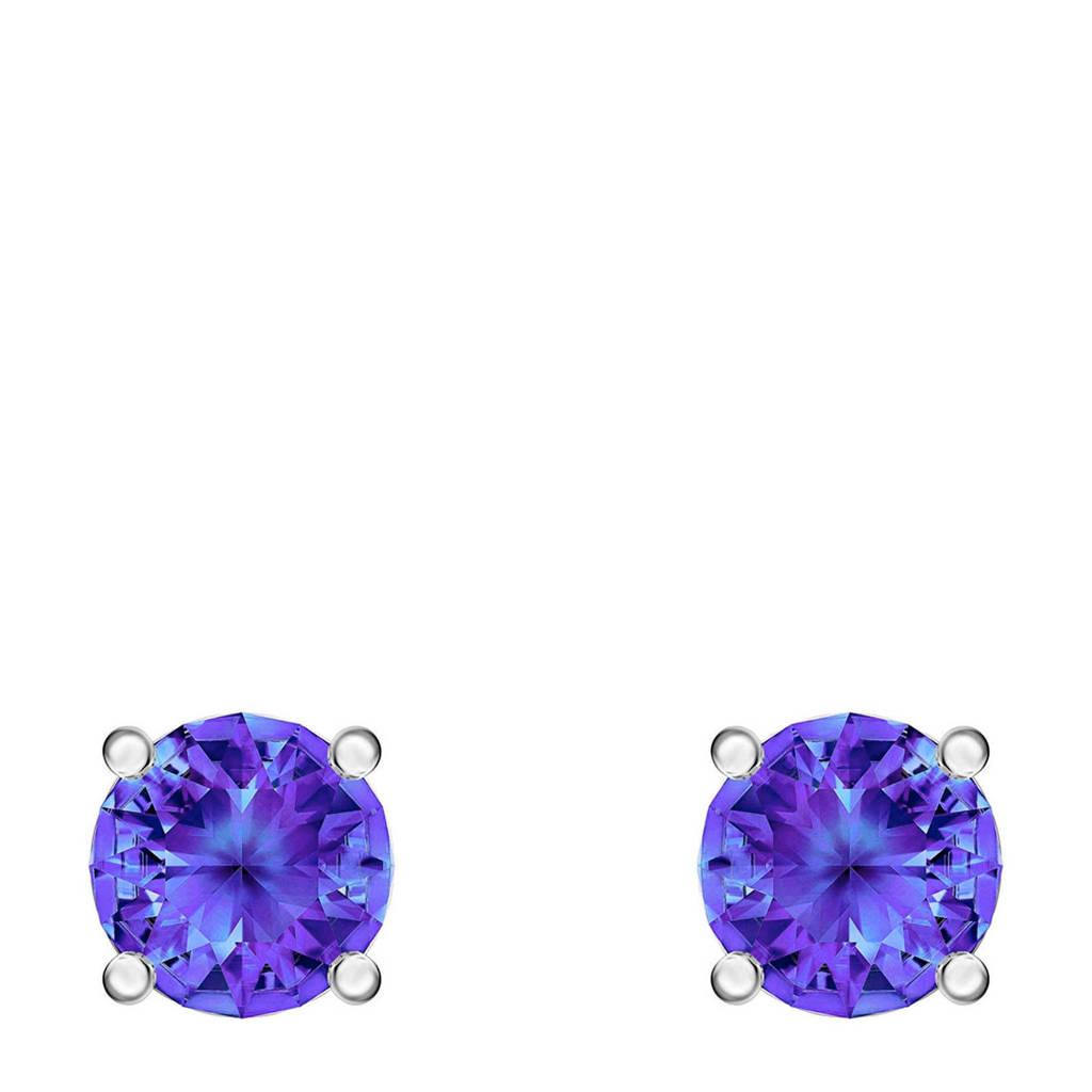 Swarovski oorbellen zilver/blauwkleurig, Blauw/zilverkleurig