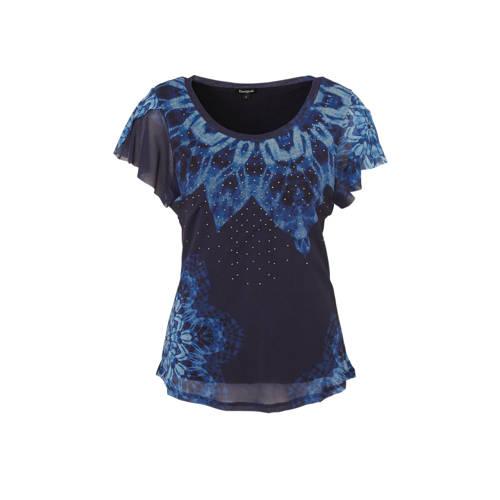Desigual T-shirt met all over print en sierstenen blauw