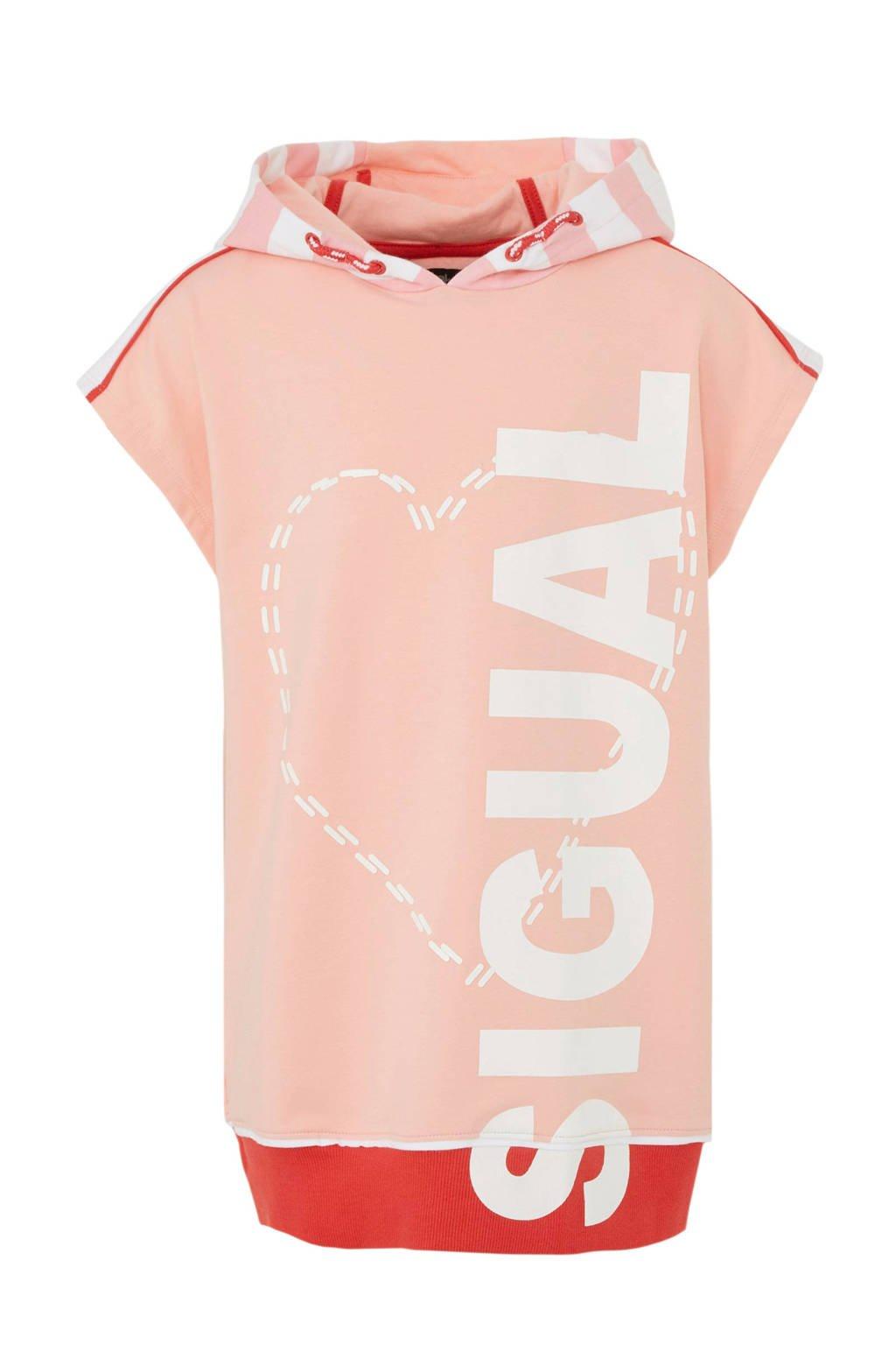 Desigual hoodie met printopdruk roze/wit, Roze/wit