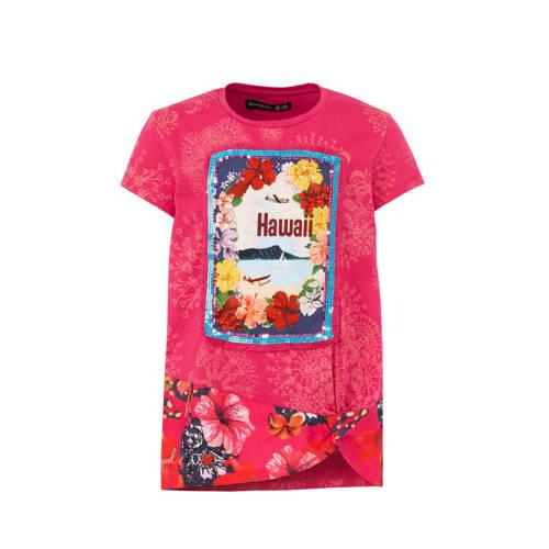 Desigual T-shirt met all over print en pailletten fuchsia