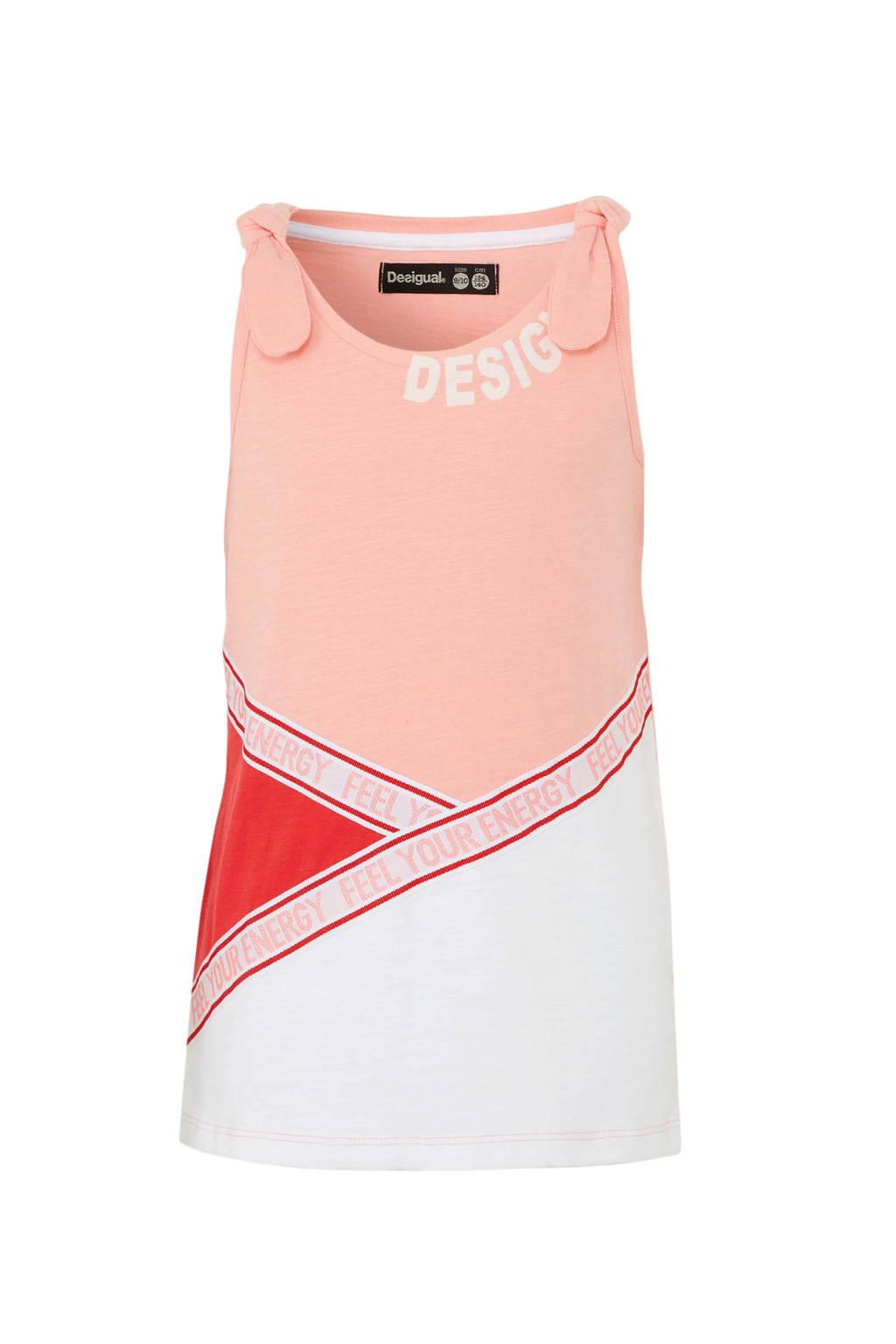 Desigual T-shirt met contrastbies roze/wit/rood, Roze/wit/rood