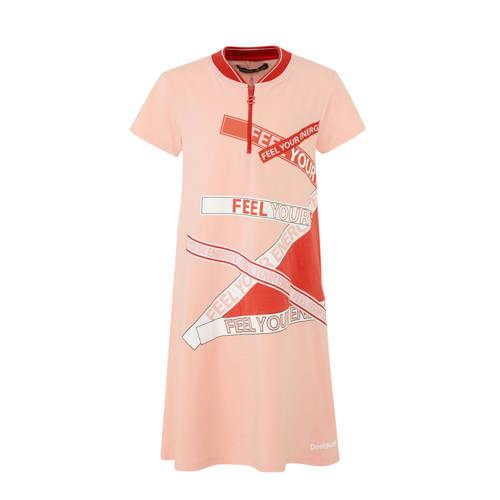 Desigual jurk met print en korte rits roze-rood