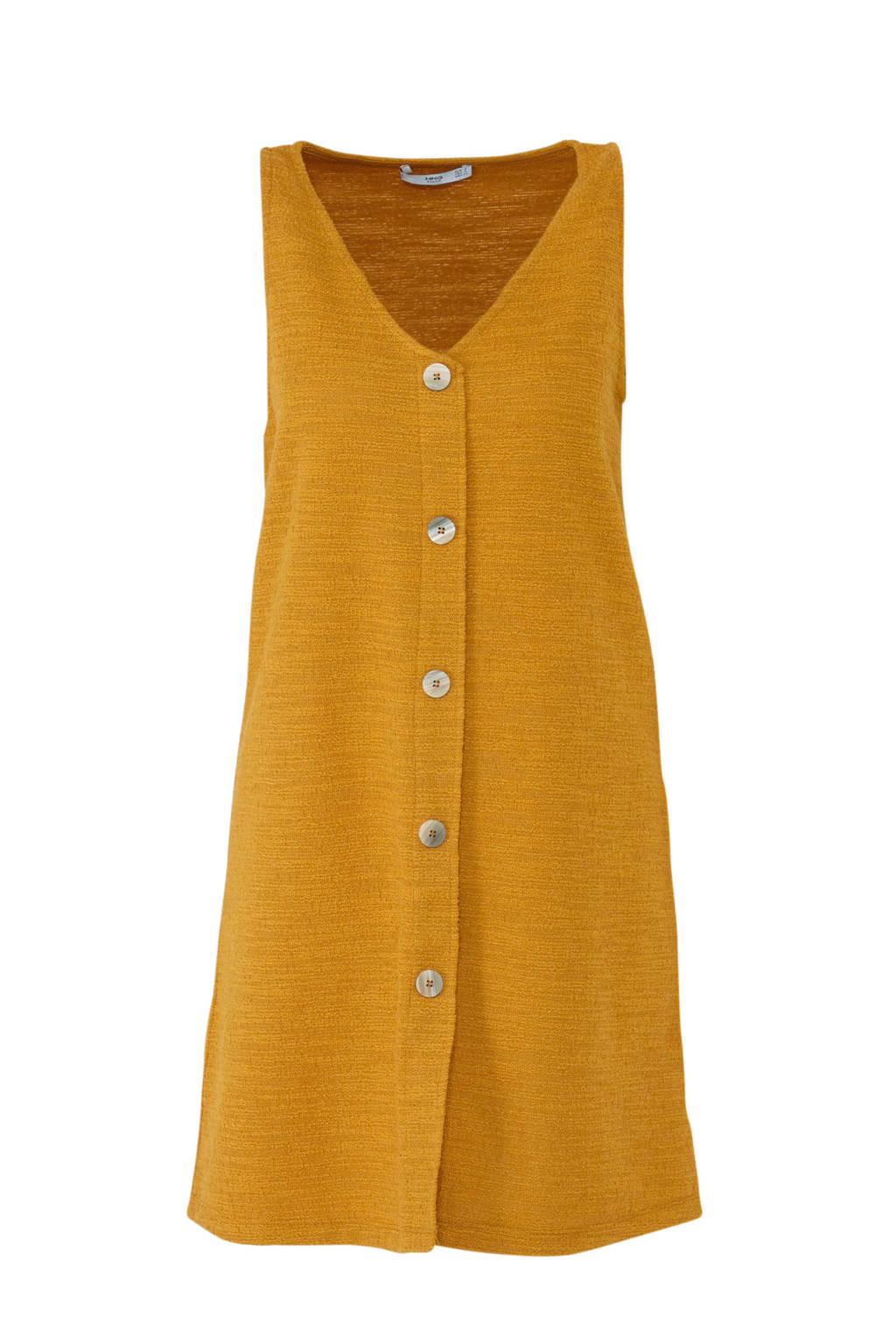 Mango jurk met textuur oker, Oker