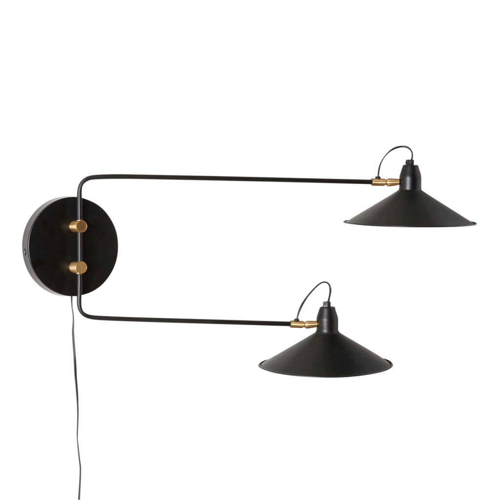 whkmp's own wandlamp Cole, Zwart, messing