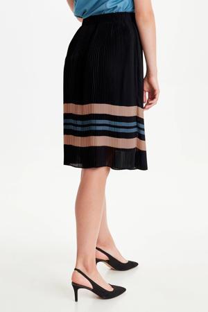 gestreepte plissé rok zwart