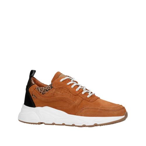 Manfield su??de sneakers bruin/panterprint