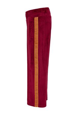 fluwelen regular fit broek Misty met zijstreep donkerrood/geel