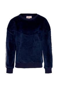 KIDS ONLY fluwelen sweater met contrastbies donkerblauw/wit, Donkerblauw/wit