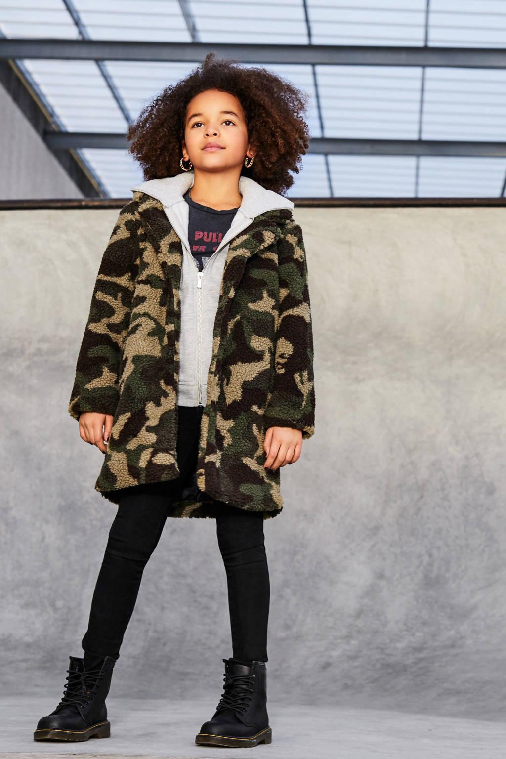 KIDS ONLY teddy jas Noelle  met camouflageprint groen/beige/zwart