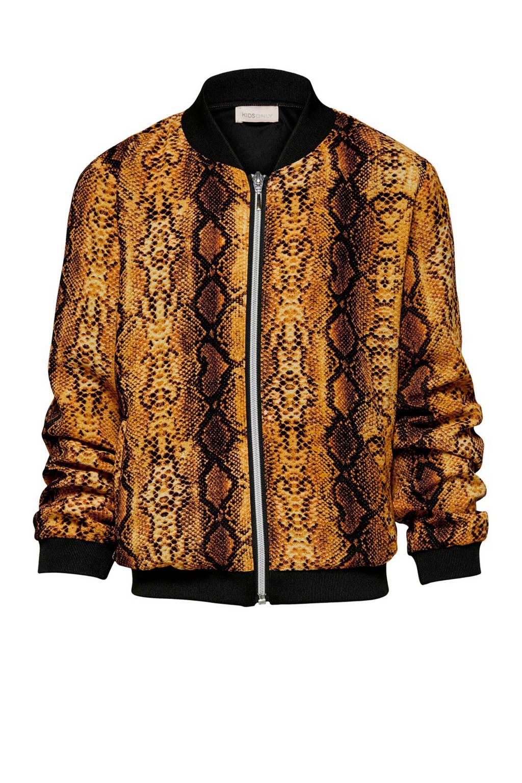 KIDS ONLY vest Coco met dierenprint goudgeel/ zwart, Goudgeel/ zwart