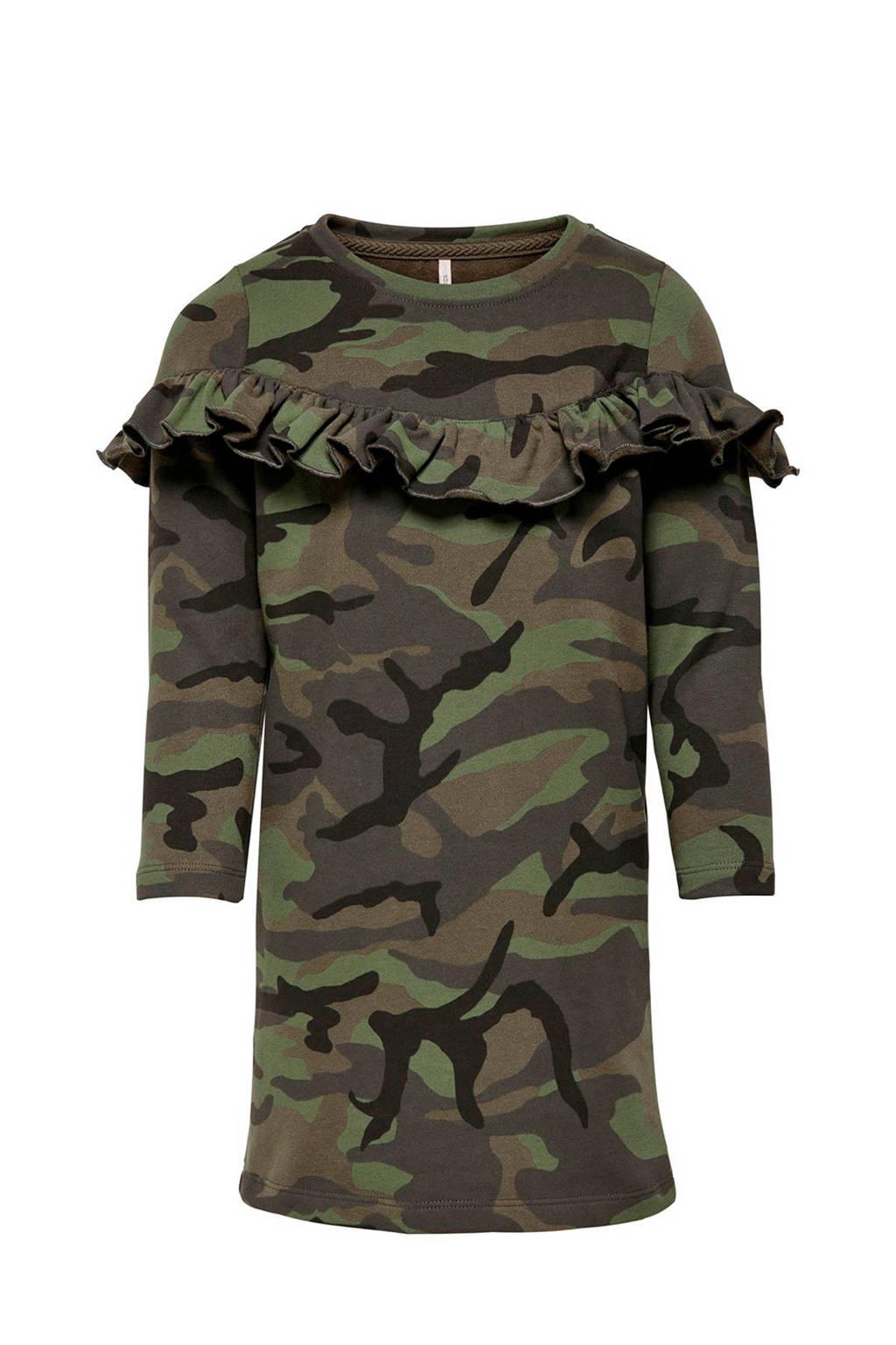 KIDS ONLY sweatjurk Camo beat met camouflageprint en volant groen/lichtgroen, Groen/lichtgroen