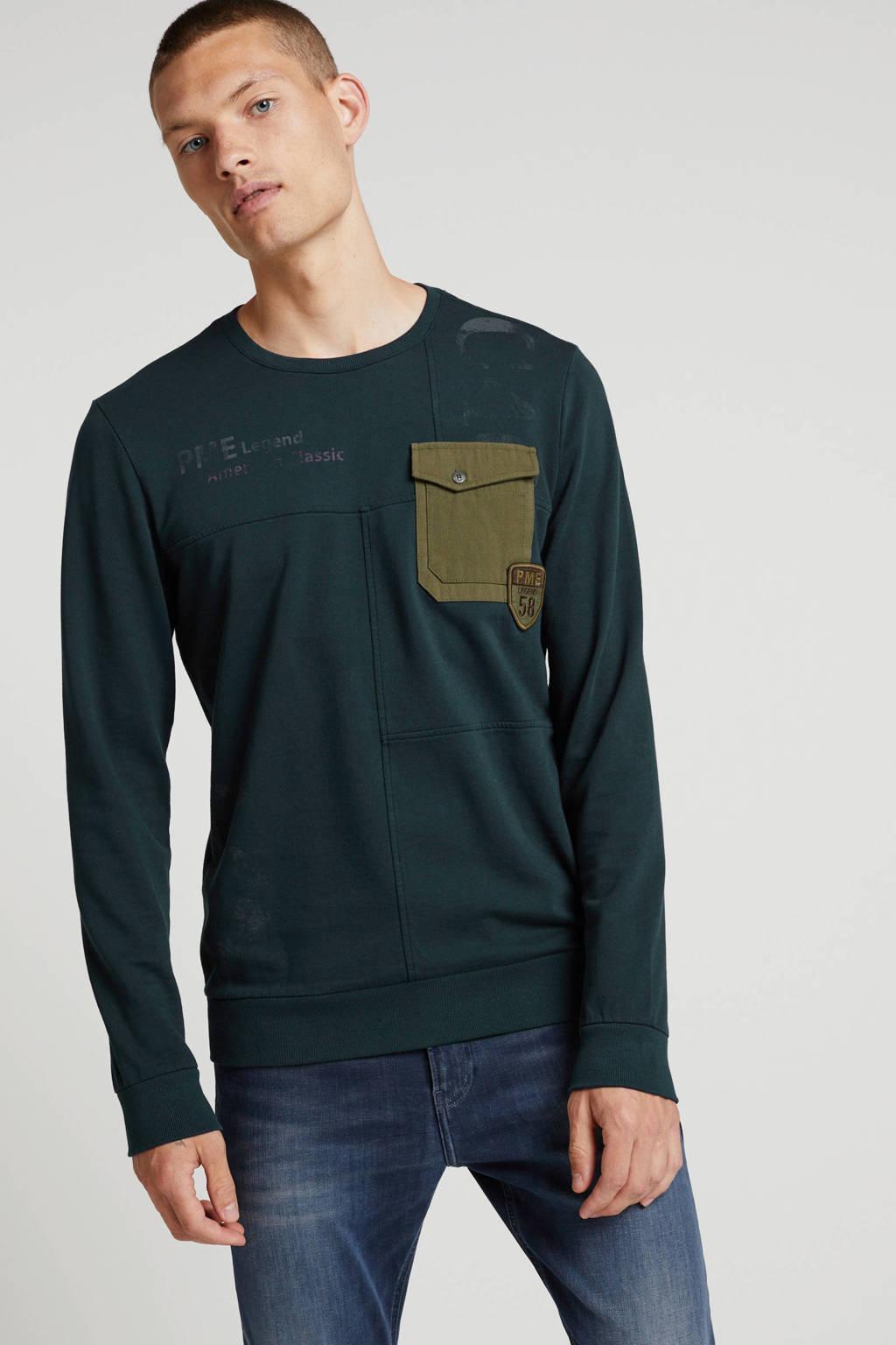 PME Legend T-shirt met tekst marine, Marine