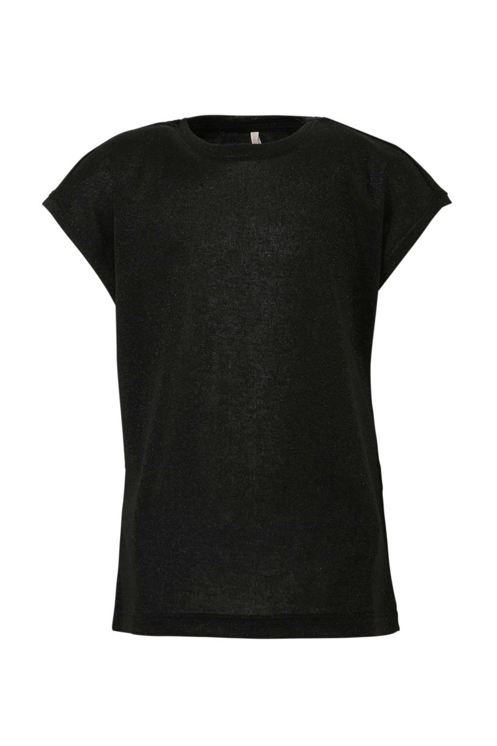 KIDS ONLY glitter T-shirt Silvery zwart, Zwart