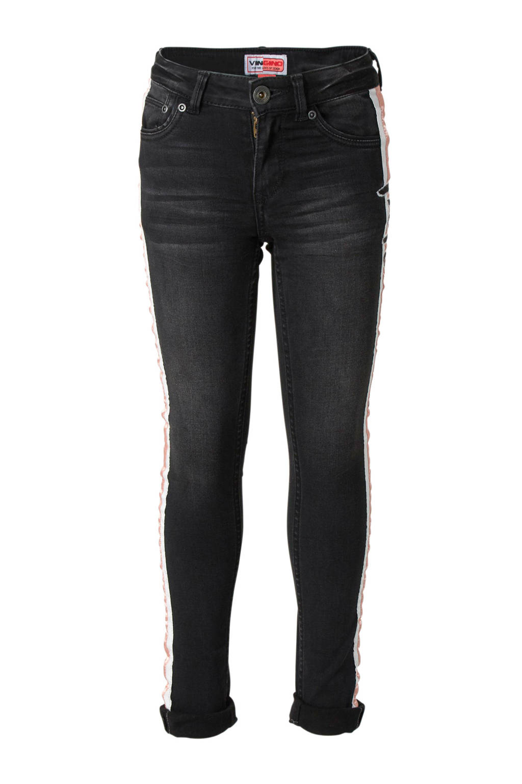 Vingino super skinny jeans Beata met zijstreep, Black Vintage