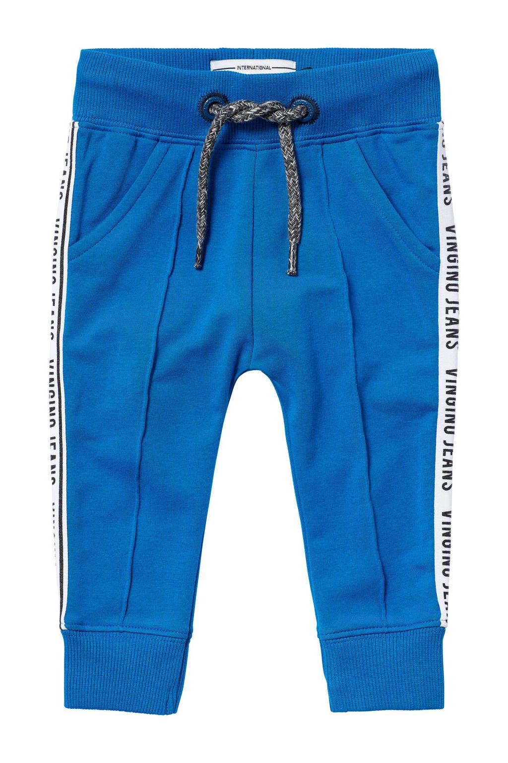 Vingino slim fit broek Savo met zijstreep blauw, Blauw