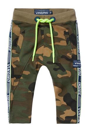 slim fit broek Sverre met zijstreep army camouflage