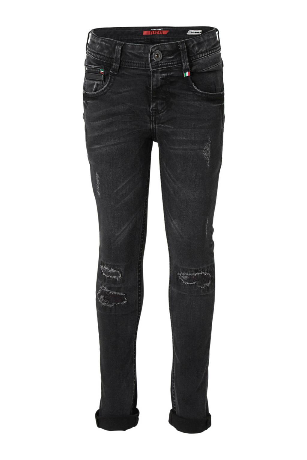 Vingino skinny jeans Adamos met slijtage, Dark grey vintage