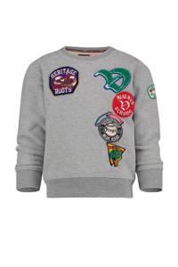 Vingino sweater Nolso met printopdruk en 3D applicatie grijs melange, Grijs melange