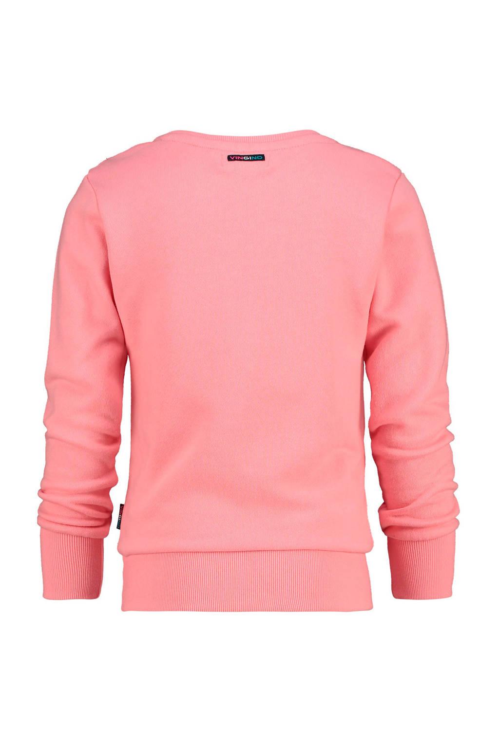Vingino sweater Newis met printopdruk en pailletten roze, Roze