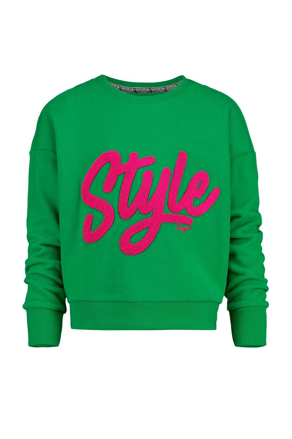 Vingino sweater Noory met tekst groen/fuchsia, Groen/fuchsia