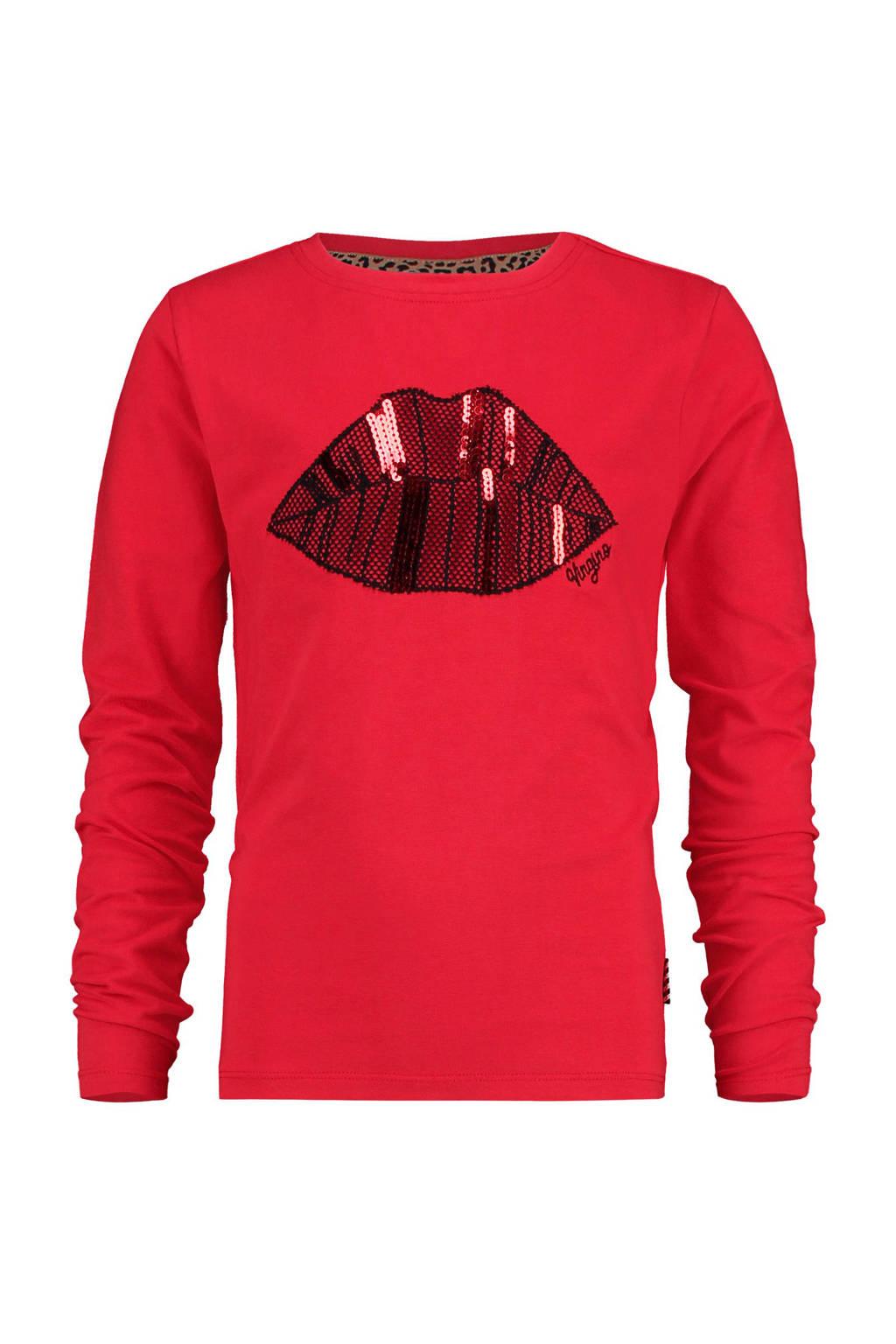 Vingino longsleeve Jonny met printopdruk en pailletten rood, Rood