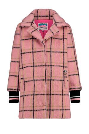 geruite halflange jas Temny in wollook roze