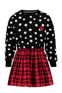Vingino jurk ByDanie met stippen en sterren rood/zwart, Rood/zwart/wit