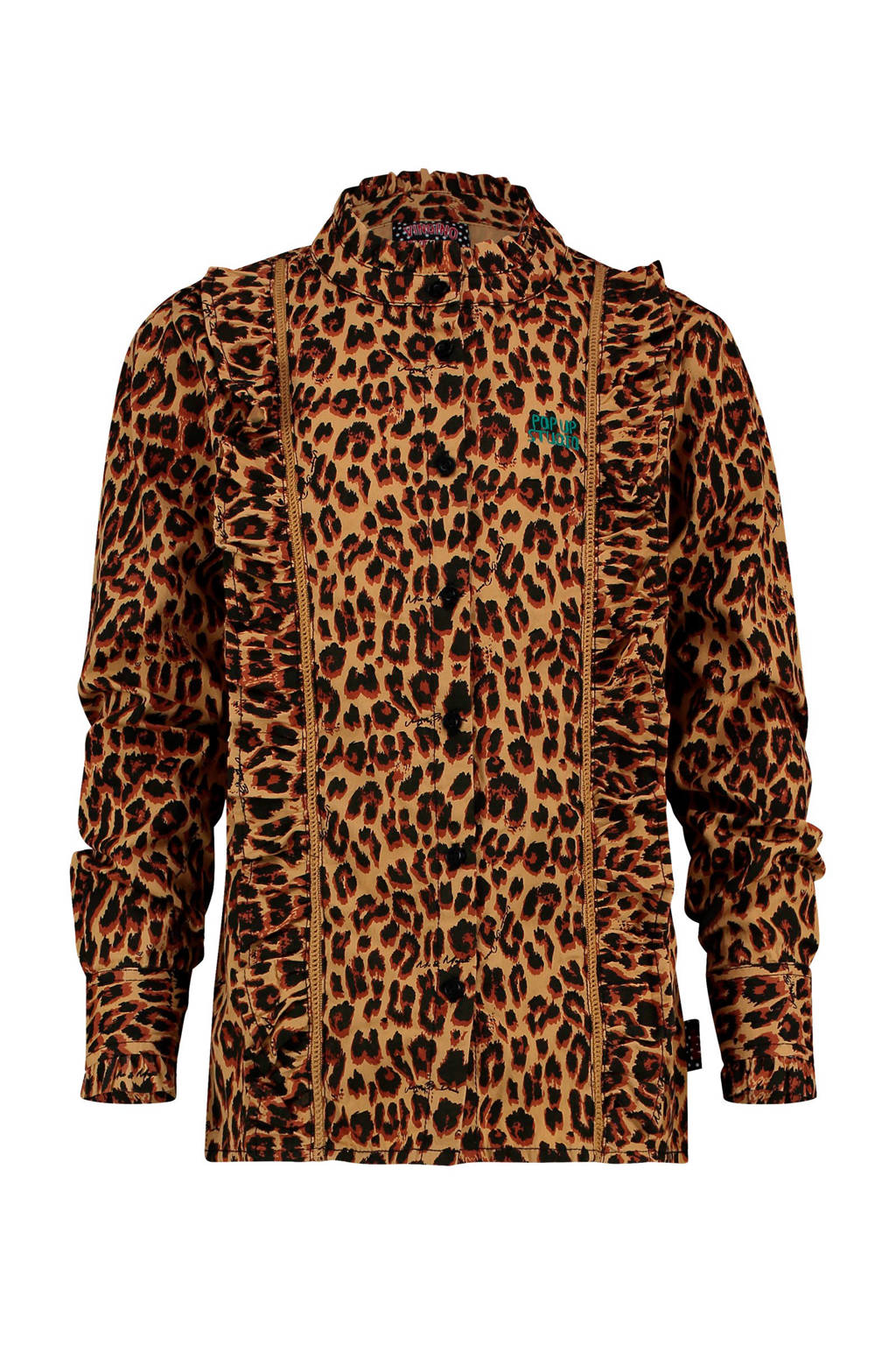Vingino blouse ByDanie met panterprint en ruches bruin/lichtbruin, Bruin/lichtbruin