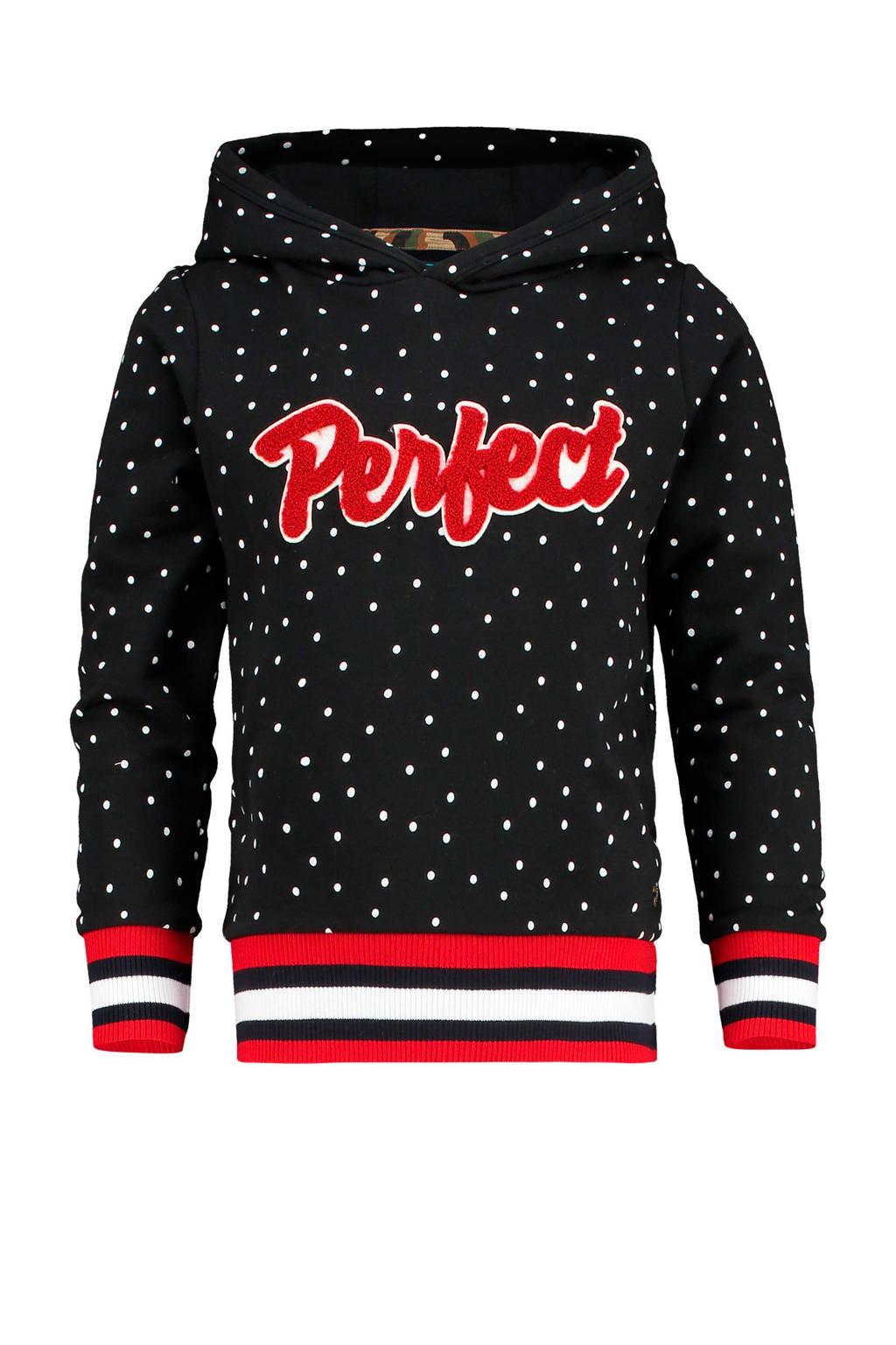 Vingino hoodie Naroda met tekst zwart/wit/rood, Zwart/wit/rood