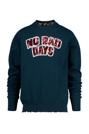 sweater Nammy met tekst en pailletten 100 dark blue