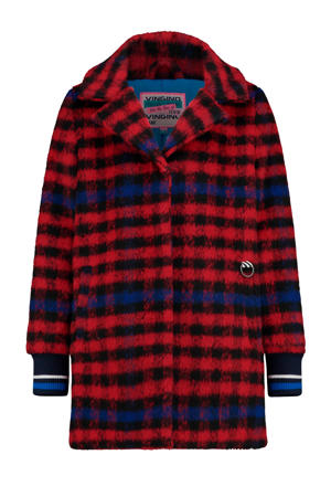 geruite winterjas Temny rood/zwart/blauw
