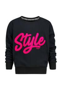 Vingino sweater Noory met tekst zwart/fuchsia, Zwart/fuchsia