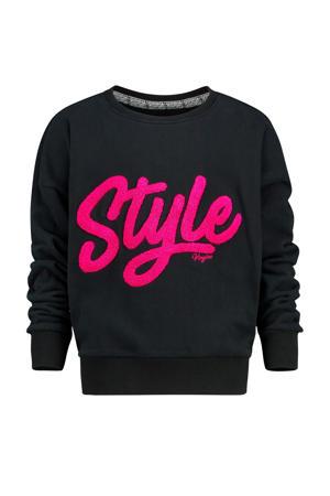 sweater Noory met tekst zwart/fuchsia