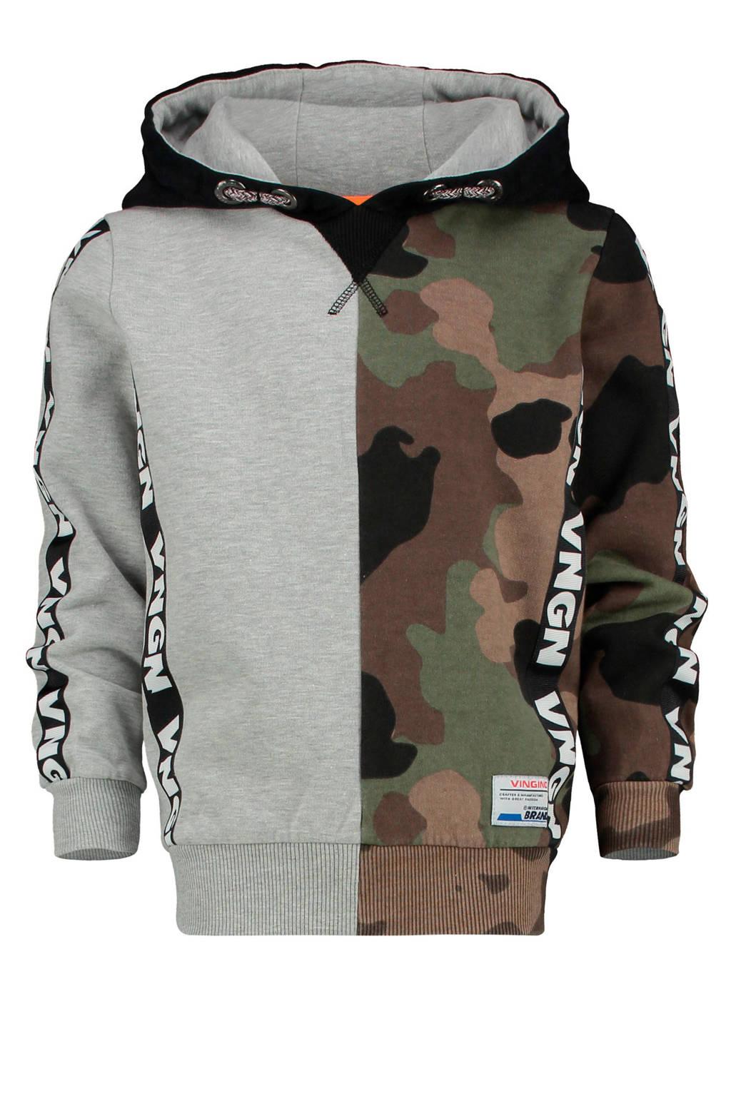 Vingino hoodie Nerber grijs melange/ army camouflage, Grijs melange/ army camouflage