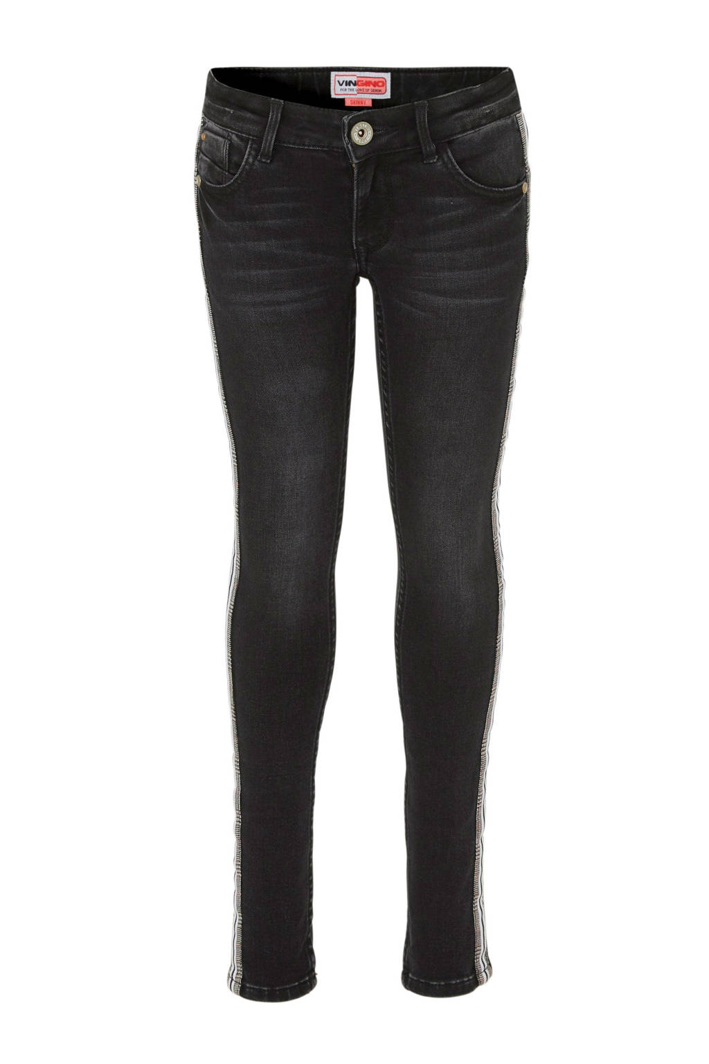 Vingino skinny jeans Amia met zijstreep zwart, Zwart