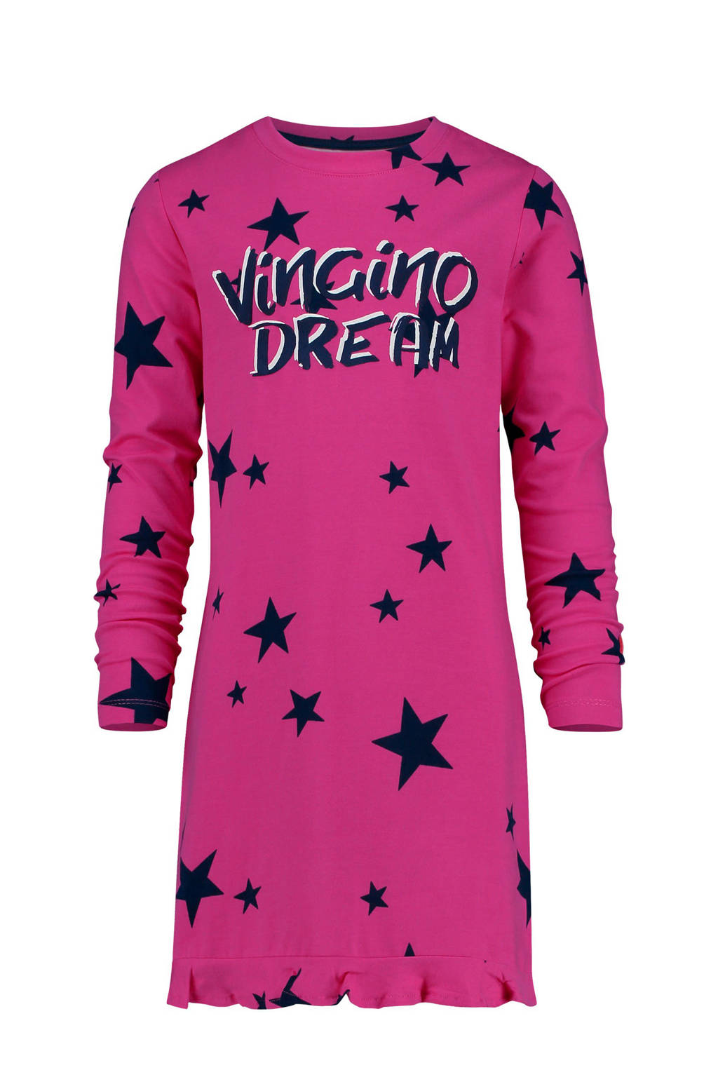 Vingino nachthemd Wies met sterrenprint en tekst fuchsia, Fuchsia/zwart