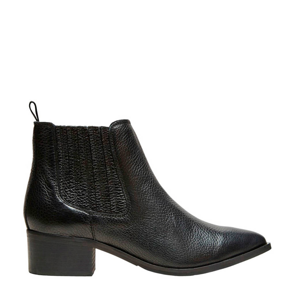 SELECTED FEMME leren chelsea boots zwart, Zwart
