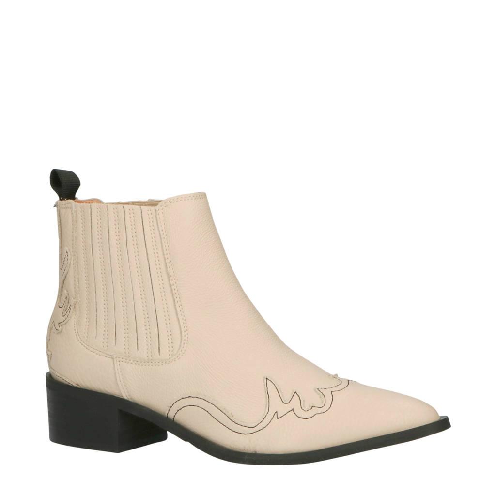 SELECTED FEMME   leren chelsea boots beige, Beige/zwart