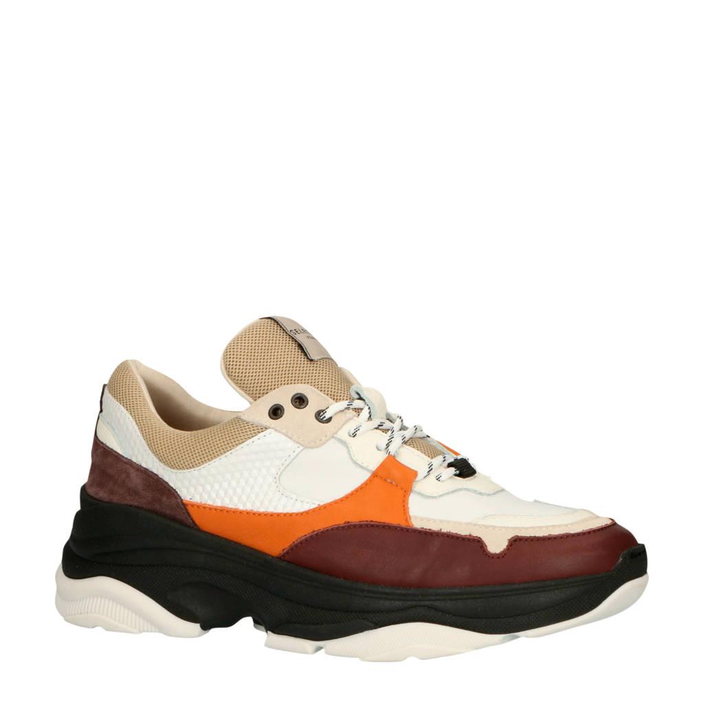 SELECTED FEMME  leren chunky sneakers wit/multi, Wit/multi